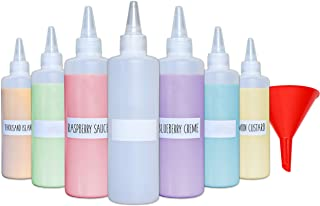 Plastic Condiment Squeeze Squirt Bottles for Sauces with Leak-Proof Cap (6-pack) with Writable Exterior and Funnel | Ideal for Ketchup, Liquids, Paint, Workshop and Pancake Art (8 oz)