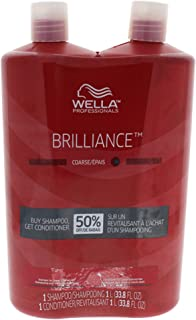 Wella Brilliance Shampoo and Conditioner Liter Duo for Coarse Colored Hair, 33.8 Ounce