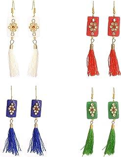 Geode Delight Multicolour Tassel Gold Plated Earring Combo Set for Women -Pack of 4