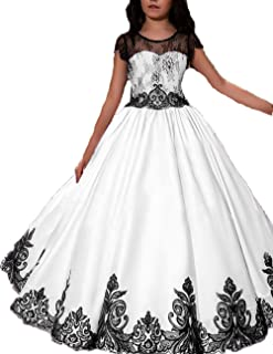dd1687d8bb Gzcdress Vintage Flower Girls Dresses Lace Black Girls Pageant Dress Long  Birthday Party Wedding Ball Gown