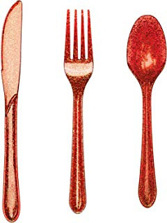 Sponsored Ad - Disposable Red Glitter Premium Plastic Cutlery Set - Includes Forks, Spoons, Knives, Heavy Duty Eco-Friendl...