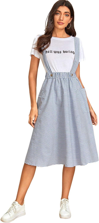 Milumia Women Striped High Waist Pocket Preppy Pinafore Suspender Overall Midi Skirt