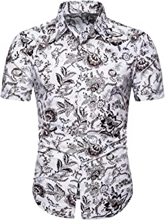 Men's Casual Shirts Hawaii Short Sleeve T-Shirt Turn-Down Collar Printed Button Slim Tops