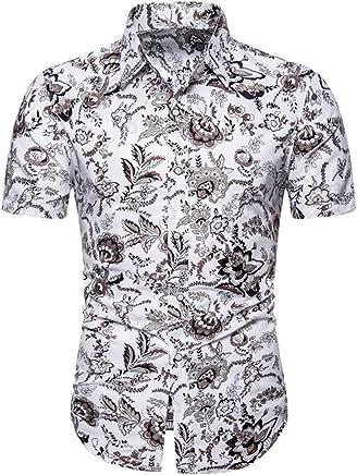 Mens Summer t Shirts Short Sleeve Tronet Men Summer Slim Loose Hawaii Short Sleeve Printed Turn-Down Collar T-Shirt Tops