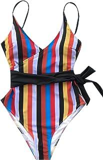 CUPSHE Mujeres Raya Colorida impresión de una Sola Pieza del Bikini del Traje de baño Bikini
