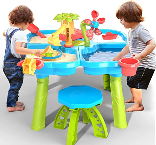 popular TEMI 4-in-1 Sand Water Table, discount 32PCS Sandbox Table with Beach Sand Water Toy, Kids Activity Sensory Play Table Summer Outdoor Toys for Toddler discount Boys Girls sale
