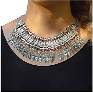 Fstrend Boho Turquoise Necklace Silver Tassel Pendant Chain Vintage Carving Statement Necklaces Jewelry for Women and Girls