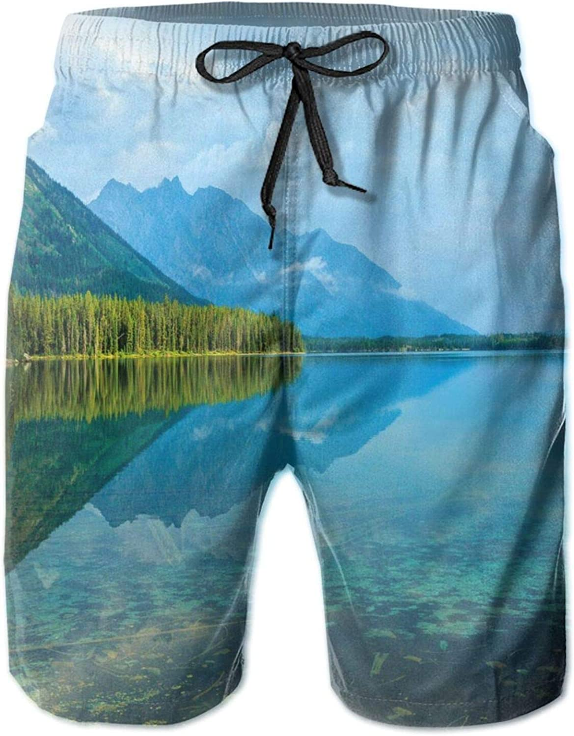 Leigh Lake Landscape with Amazing Sky and Reflections On Calm Water Swimming Trunks for Men Beach Shorts Casual Style,XL