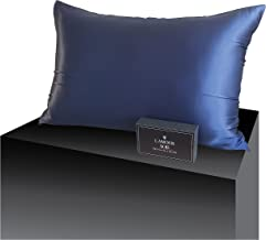 100% 6A-22 Momme Mulberry Silk Pillowcase-Navy with Hidden Zipper for Hair and Skin, Anti Aging, Anti Sleep Crease, Anti B...