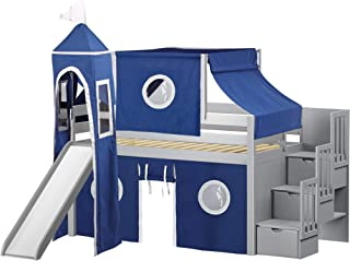 JACKPOT! Castle Low Loft Stairway Bed with Slide Blue & White Tent and Tower, Loft Bed, Twin, Gray