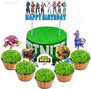 MORDUN Video Game Party Supplies - Cake Topper and Cupcakes Toppers Wrappers Kit - Happy Birthday Cake Decorations for Gamers Kids Boys Girls