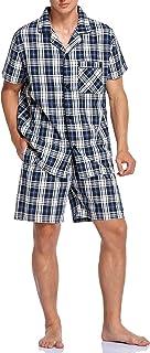 Sponsored Ad - ANSEHO Cotton Men's Plaid Pajamas Set Summer Short Top and Bottom Sleepwear