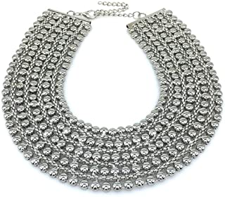 Chunky Metal Statement Necklace For Women Neck Bib Collar Choker Necklace Maxi Jewelry