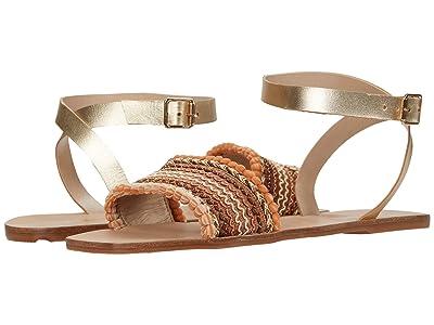 KAANAS Mossoro Mini Pom-Pom Sandal with Ankle-Wrap (Gold) Women