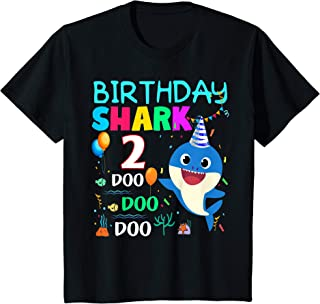 Kids Kids Baby Shark 2 Years Old 2nd Birthday Doo Doo Shirt