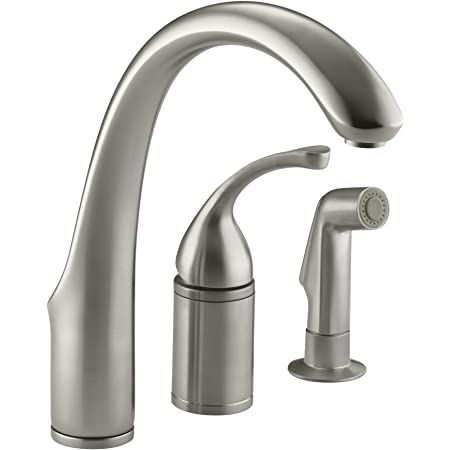"""KOHLER K-10430-BN Forté(R) 3-Hole Remote Valve Sink 9"""" spout with Matching Finish sidespray Kitchen Faucet, Vibrant Brushed Nickel"""