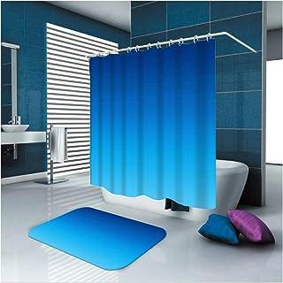 Epinki Polyester Washable Bathroom Curtain Set Blue Plain Shower Curtain with 12 Hooks Size 165x200CM