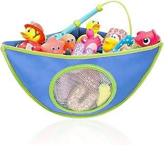 AUMA Bath Toy Organizer Storage Bag, Baby Shower Toys Corner Bag, Kids Waterproof Toy Holder, 4 Strong Suction Hooks, Blue