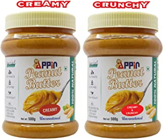 Appin All Natural Smooth Creamy & Crunchy Unsweetened Peanut Butter Combo (Pack of 2)