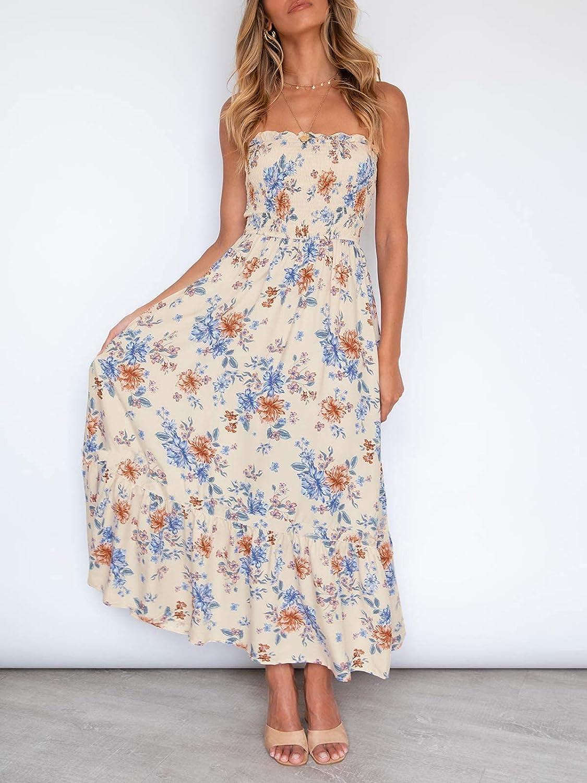 ZESICA Women's Summer Bohemian Floral Printed Strapless Beach Party Long Maxi Dress