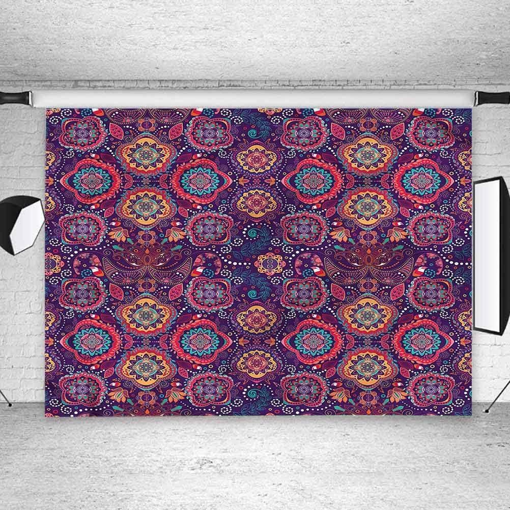 7x7FT Vinyl Photography Backdrop,Batik,Oriental Circles Arrangement Photoshoot Props Photo Background Studio Prop