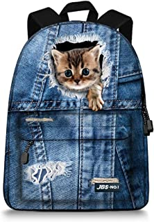 JBS-NO.1 Cute Cats Backpack for Teen Girls,Canvas BookBags for School (Blue1)