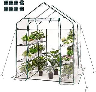 AMERLIFE Walk-in Greenhouse Hot House 77x56x56 Inch Indoor Outdoor 3 Tier 8 Shelves with PVC Cover and Roll-Up Zipper Door...