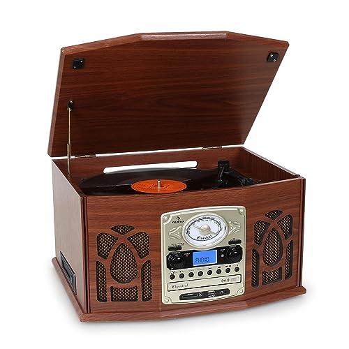 Auna NR-620 Tocadiscos - Reproductor de vinilos y CD - Accionamiento por correa, Compatible MP3, Radio FM/AM, Altavoces estéreo 2x2W, Entrada USB/SD, Mando a distancia, Imitación Madera - Café