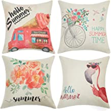 Anickal Summer Decorations Set of 4 Decorative Pillow Covers 18x18 Hello Summer Pink Ice Cream Truck Flamingo Flower Cotton Linen Pillow Cases for Summer Home Decor