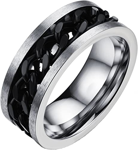 Tough Dude Chain Stainless Steel Silver Rings for Men and Boys Black Chain