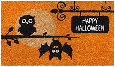 "Rugsmith Black Machine Tufted Happy Halloween Owls Doormat, 18"" x 30"", Orange"
