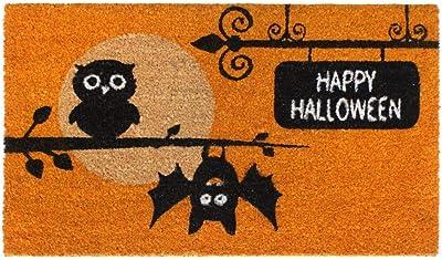 "Rugsmith Black Machine Tufted Happy Halloween Owls Doormat, 18"" x 30"", Orange"