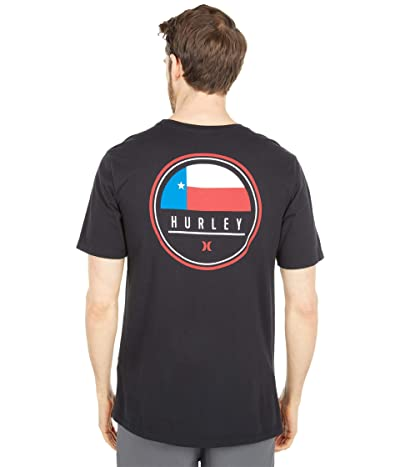 Hurley Destination Flag Short Sleeve Tee (Black/Texas) Men