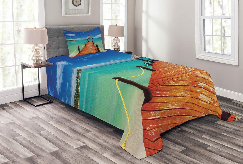 Ambesonne Wooden Bridge Bedspread Ocea Max 52% OFF Tropical to Jetty Luxury