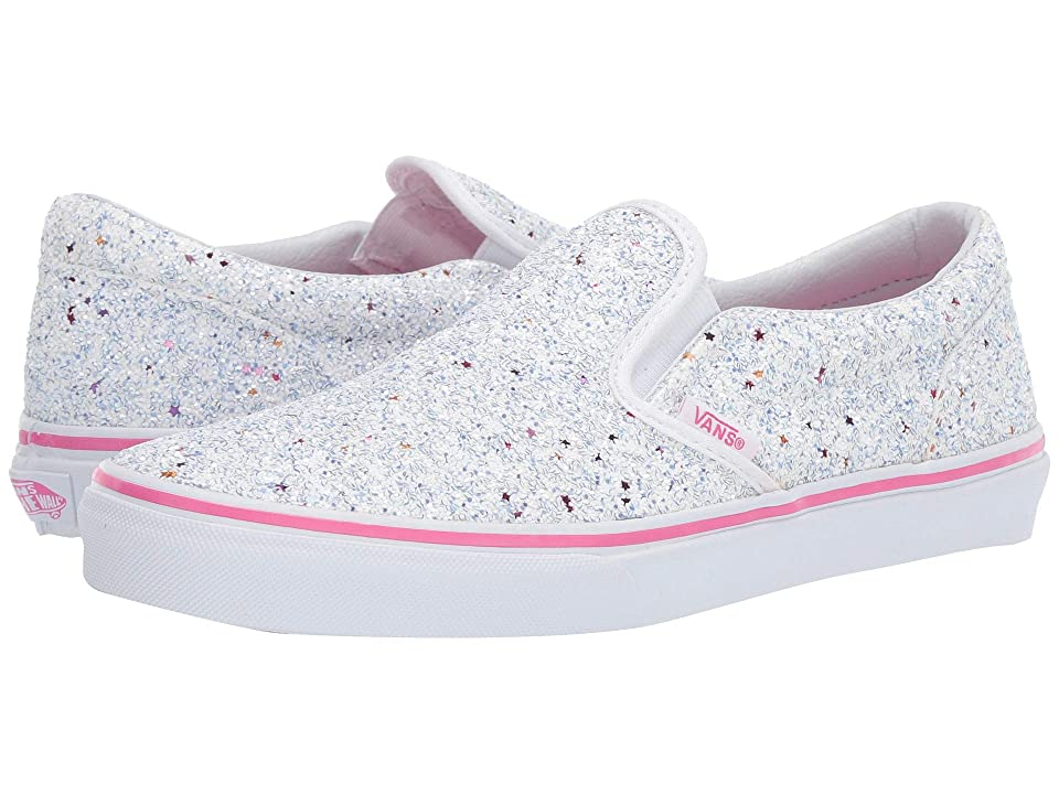 Vans Kids Classic Slip-On (Little Kid/Big Kid) ((Glitter Stars) True White/Carmine Rose) Girls Shoes