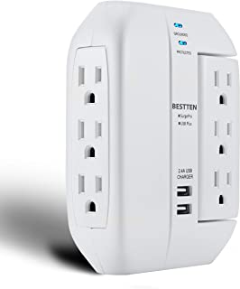 BESTTEN 6 Outlet Extender, 3 Swivel and 3 Side-Access Outlets, 1350-Joule Wall Surge Protector with Dual USB Charging Ports, ETL Certified, White
