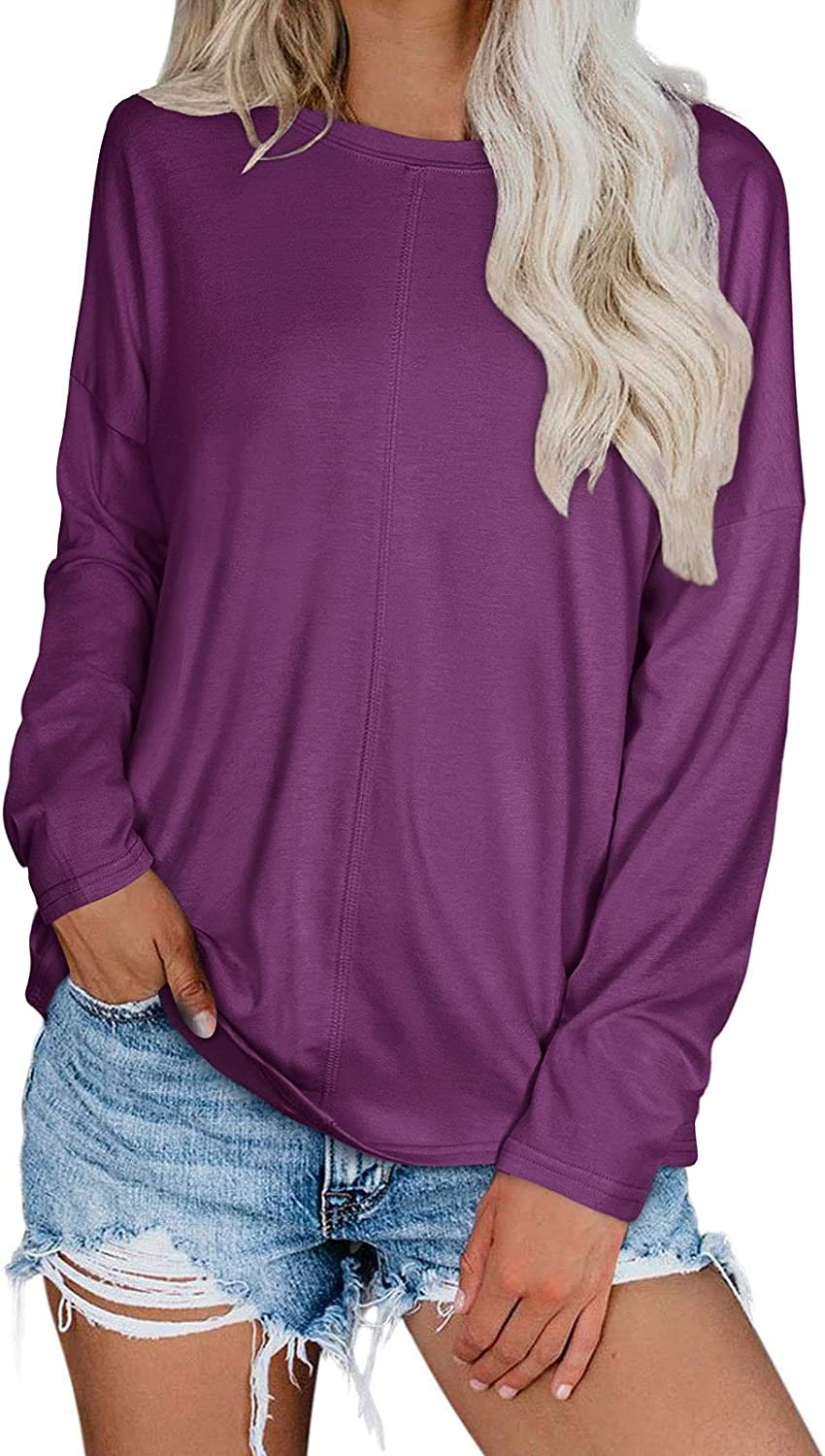Adreamly Women's Long Sleeve T Shirt Crew Neck Casual Loose Fit Tops Basic Tee
