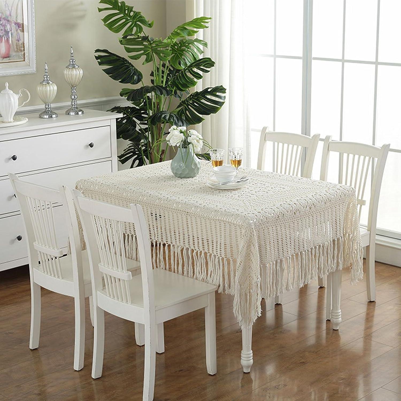 Unbekannt %Tablecloth Vintage Crochet Tischdecke Handarbeit hkeln (Rechteck-130  180cm) (Farbe   Beige, gre   130  180cm)