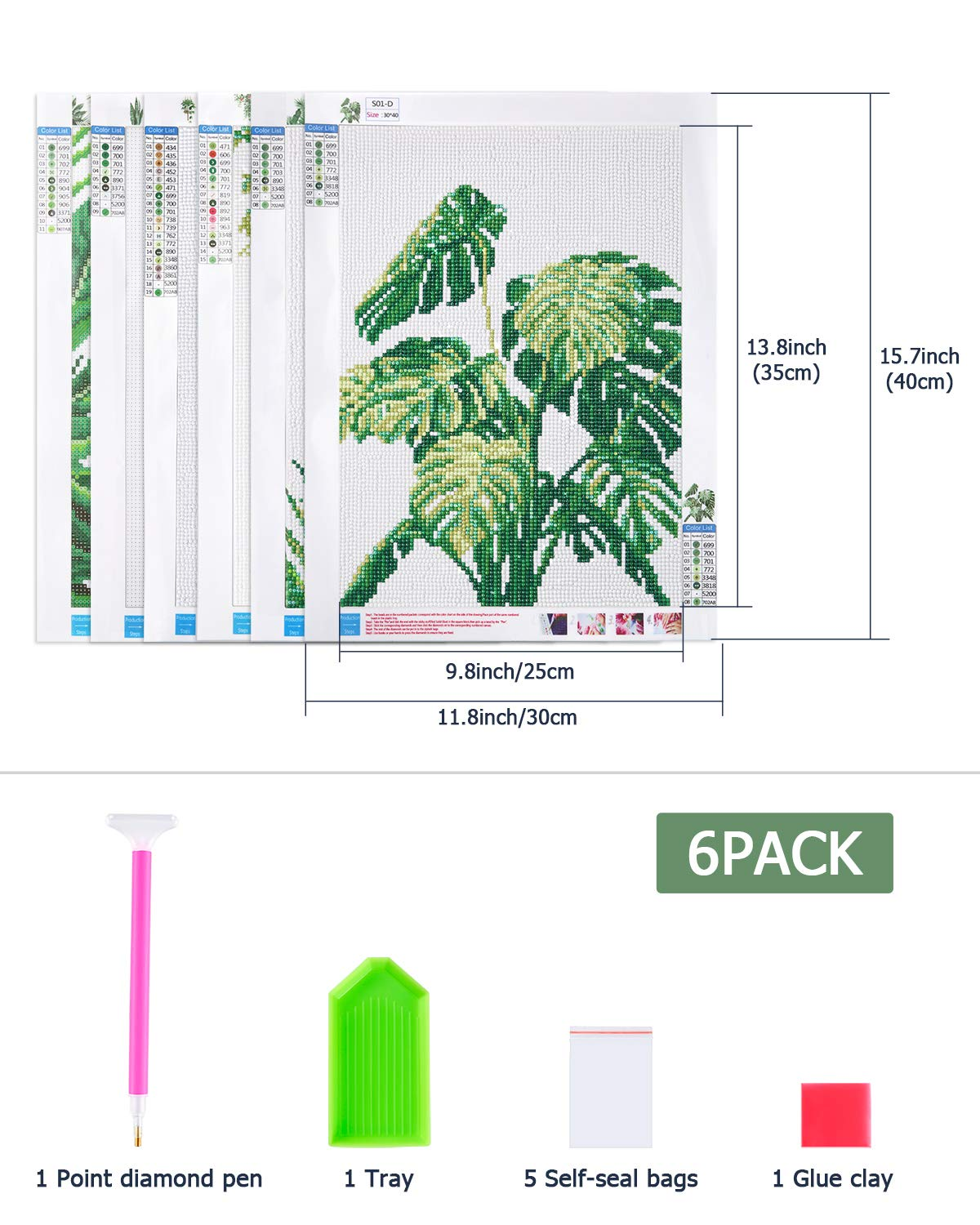 PP OPOUNT 6 Pack 5D Diamond Painting Art Kits, Green Plants Diamond Painting Round Diamond Cross Stitch Diamond Painting for Home Wall Decor(11.8x15.7 inch)