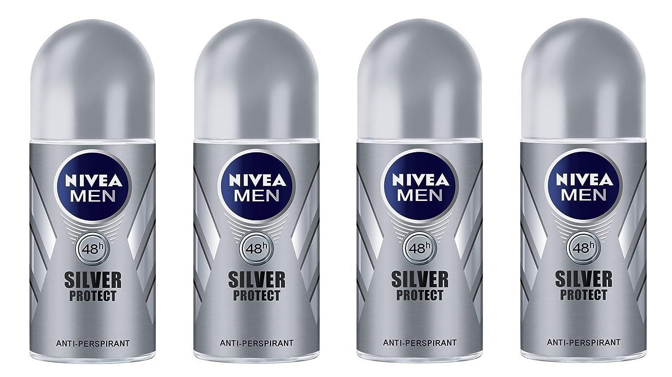 音声私たちのもの妻(Pack of 4) Nivea Silver Protect Anti-perspirant Deodorant Roll On for Men 4x50ml - (4パック) ニベア銀保護する制汗剤デオドラントロールオン男性用4x50ml