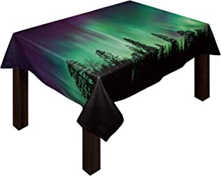 """Cotton Linen Tablecloth Northern Lights Aurora Borealis Forest Rectangle 53"""" Wx70 L Wrinkle-Free Table Cloth Cover Purple ..."""