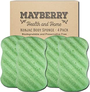 Konjac Body Sponge (4 Pack) Individually Wrapped Green Tea Konjac Sponges (Green) Offer a Gentle Cleansing Experience for Softer More Radiant Skin