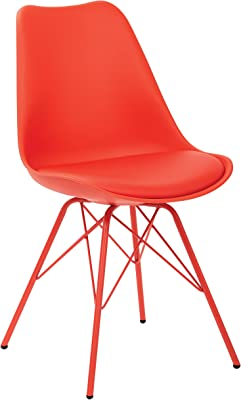 OSP Home Furnishings Emerson Polyurethane Seat Armless Visitors Chair with Chrome Legs, Red