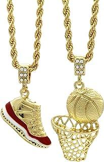 """طلای مردانه HipHop Retro 11 """"گیلاس"""" و پینک بسکتبال ساده 4mm 24 """"زنجیر طناب"""