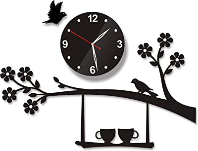 GRUHLAXMI 3D Acrylic wall Clock, Tree Birds Cups On Jhula. Antique Design For Living room/Bad room/Home/Hotel and office. New Model High Quality Silent Quartz on wall Decoration Creative/Stylish Latest Modern look - Black - GHRUHL_MAH_URB_CH