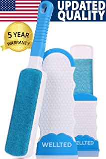 WELLTED Pet Hair Remover Brush - Lint Brush - Fur Remover - Fur & Lint Removal - Dog & Cat Hair Remover - Double-Sided Brush with Self-Cleaning Base - for Furniture Clothing Car Seat