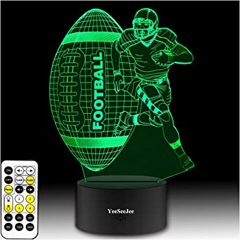YeeSeeJee Football Gifts for Men 3D Illusion Lamp with 7 Colors Timer Remote Birthday Gifts for Boys Age 6 7 8 9 10 Year Old Boys Gifts (FOTB 7CB)