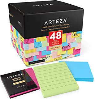 $28 » Sponsored Ad - Arteza Sticky Notes, 3x3 Inch, Bulk 48-Pack, 24 Lined & 24 Blank Pads, 6 Assorted Colors, 100 Sheets Per Pa...