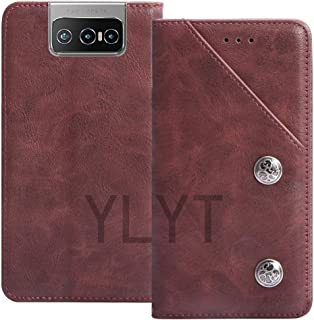 YLYT Business Shock - Red Flip Leather TPU Silicone Retro Cover with Stand Wallet Case For Asus Zenfone 7 Pro ZS671KS 6.6 ...
