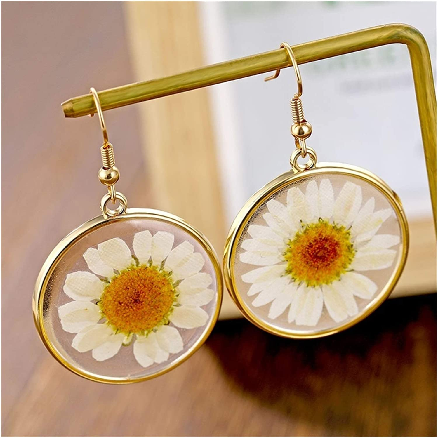 SFQRYP Fashion Resin Drop Earring Transparent Max 57% OFF Women New color Fl Dried for